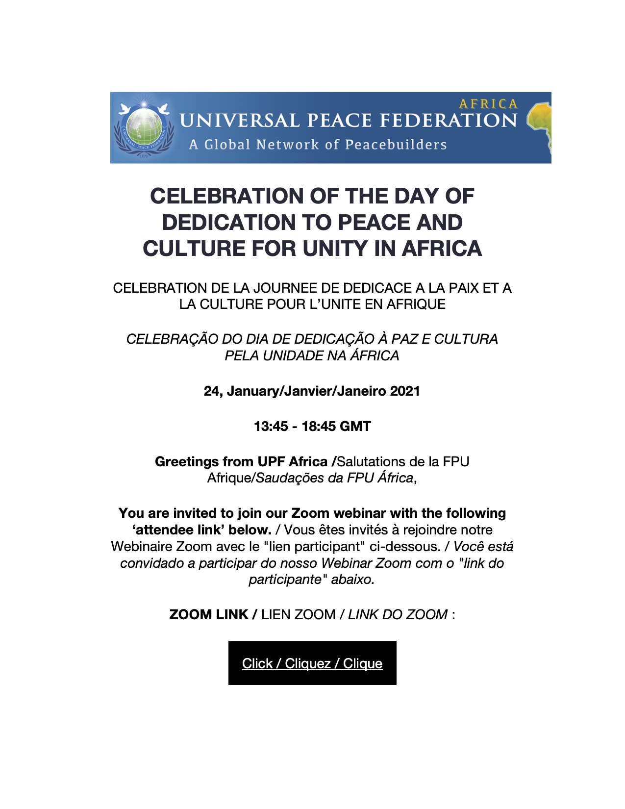 CELEBRATION OF THE DAY OF DEDICATION TO PEACE AND CULTURE FOR UNITY IN AFRICA copy