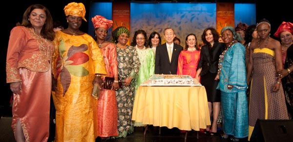 H.E. Ban Ki-moon with some members of the UN African Ambassadors' Spouses Group who made the evening possible