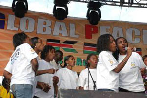 "A local choir sings the GPF Anthem ""Where Peace Begins"" in Kiswahili"