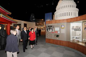 Rev. and Mrs. Moon visit some of the exhibits at the impressively restored Bush Presidential Library