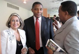 MEPI Briefing attendees, Ms. Connie Taracena Secaira, (Guatemala), Amb. Zachary Muburi-Muita (Kenya), and Amb. Augustine P. Mahiga (Tanzania) at right holding a copy of the UPF's book, Middle East Peace Initiative