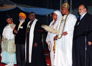 Leaders of six faiths offer prayers of peace to open the Peace Tour program in Abuja.