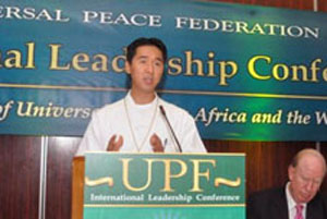 UPF International Chairman Rev. Hyung Jin Moon delivers the conference keynote address.