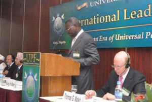 Former Prime Minister of Togo, Gabriel Messan Kodjo, addresses the Opening Plenary.