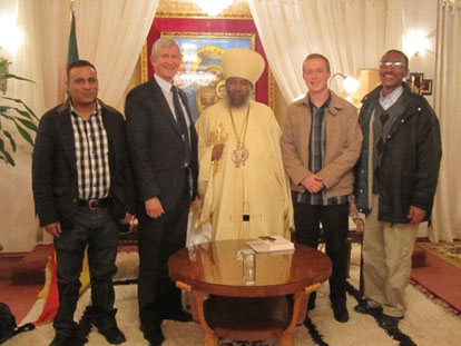 H.H. Abuna Paulos I (center) meeting with the UPF-Europe interfaith team, left to right: Aftikhar Ahmed, Robert Williamson, and Patrick Crosthwaite; and Secretary General of UPF-Ethiopia Simon Amare