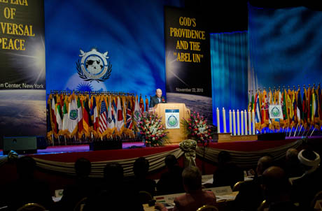 UPF Founder Rev. Dr. Sun Myung Moon delivers the keynote address on his vision of peace and unity at World Assembly 2010