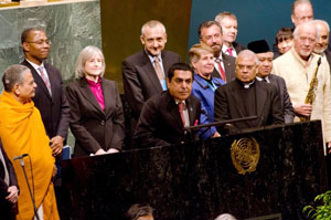 General Assembly President H.E. Mr. Nassir Al-Nasser with interfaith speakers
