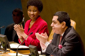 General Assembly President H.E. Mr. Nassir Al-Nasser and Deputy Secretary-General Asha-Rose Migiro