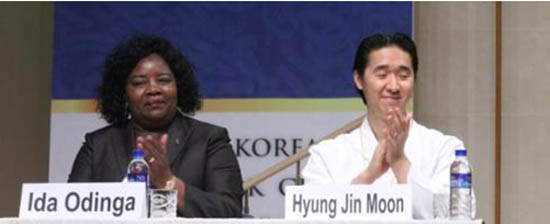 Ida Odinga, wife of Kenyan Prime Minister Raila Odinga, together with UPF International Chairman Hyung Jin Moon