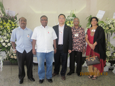 Mr. K. Selvan, Mr. Kopalan, Rev. Sam Yeoh, Mr. Ponnudurai, and Mdm. Shanta at the embassy of Japan