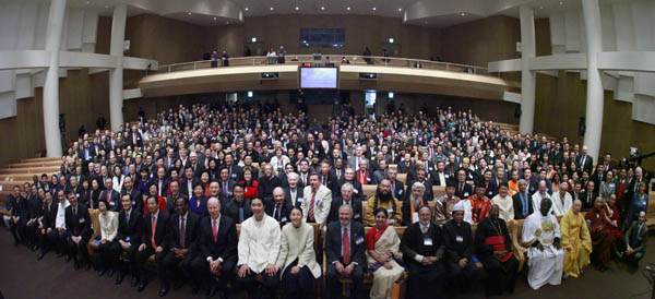 UPF conference delegates at the interfaith opening plenary held in Seoul's modern Cheon Bok Goong sanctuary