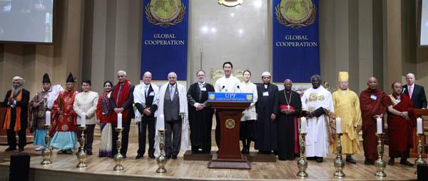 Религиозные лидеры во время сессии празднуют Всемирную Неделю Межрелигиозной Гармонии ООН